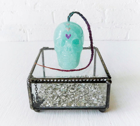 Heart Warrior Glass Jewelry Box Fluorite Crystal Carved Skull with Ombre Human Hair