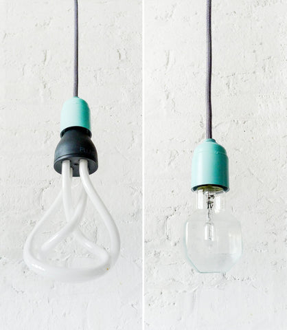 Modern Retro Lighting Textile Pendant Pastel Mint Blue Hardware Dark Grey Textile Cord