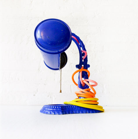 Electric Blue Hood Cast Iron Desk Lamp - Vintage Industrial Lighting - Citrus Ombre Cloth Color Cord