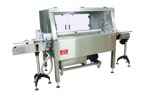 Automatic inline bottle cleaner with dry or wet cleaning options, model BR-15, by Acasi Machinery Inc., front and left view