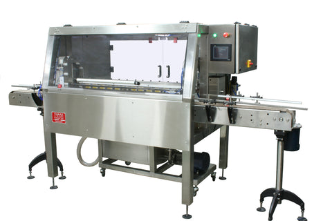 Automatic inline bottle cleaner with dry or wet cleaning options, model BR-15, by Acasi Machinery Inc., front and right view