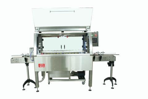 Automatic inline bottle cleaner with dry or wet cleaning options, model BR-15, by Acasi Machinery Inc. front view