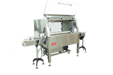 Automatic inline bottle cleaner with dry or wet cleaning options, model BR-15, by Acasi Machinery Inc. left and front view
