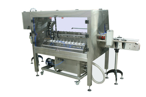 Automatic inline bottle cleaner with dry or wet cleaning options, model BR-15, by Acasi Machinery Inc., rear and right view