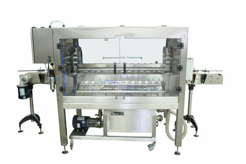 Automatic inline bottle cleaner with dry or wet cleaning options, model BR-15, by Acasi Machinery Inc., rear view