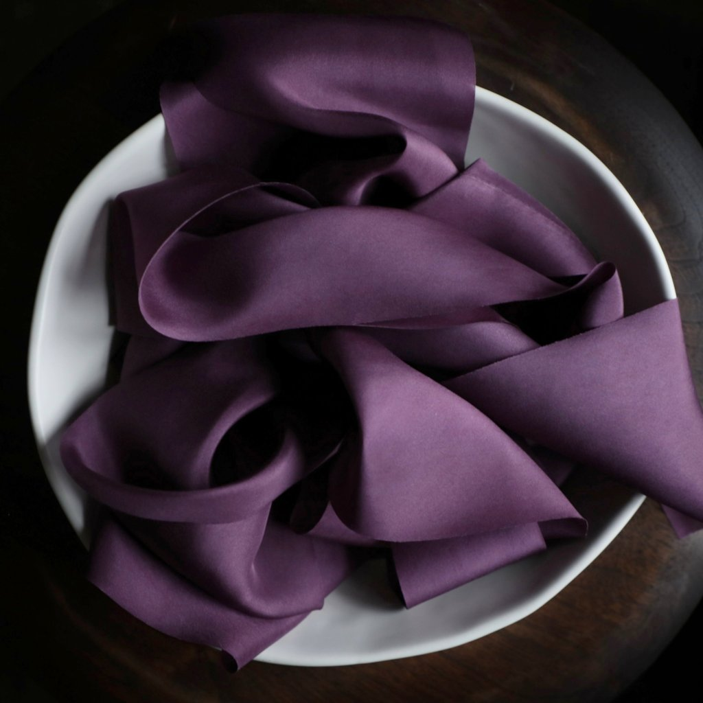 bridal bouquet ribbon, holiday gift wrapping, regal purple silk ribbon. Silk & Willow