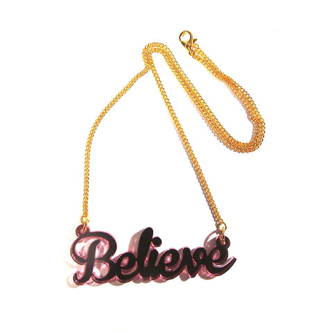 Pink Mirrored Acrylic 'Believe' Pendant