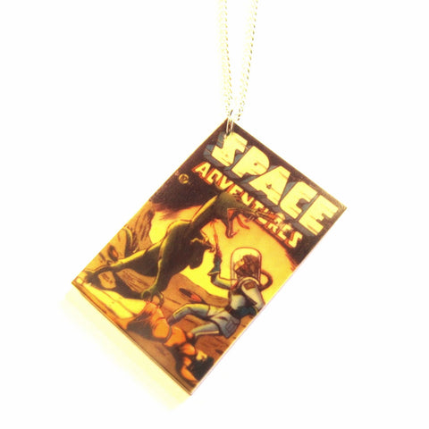 Comic Book Style Cover 'Space Adventures' Acrylic Pendant