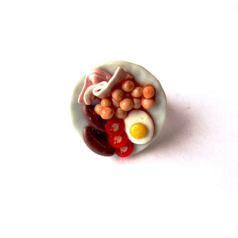 Quirky Full Breakfast Fry Up Plate Clay Ring