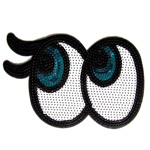 DIY Fashion Sequin Blue Eyes Iron On Patch – LARGE