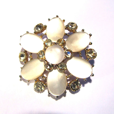 Silver and White Pearlised Flower Effect Large Brooch