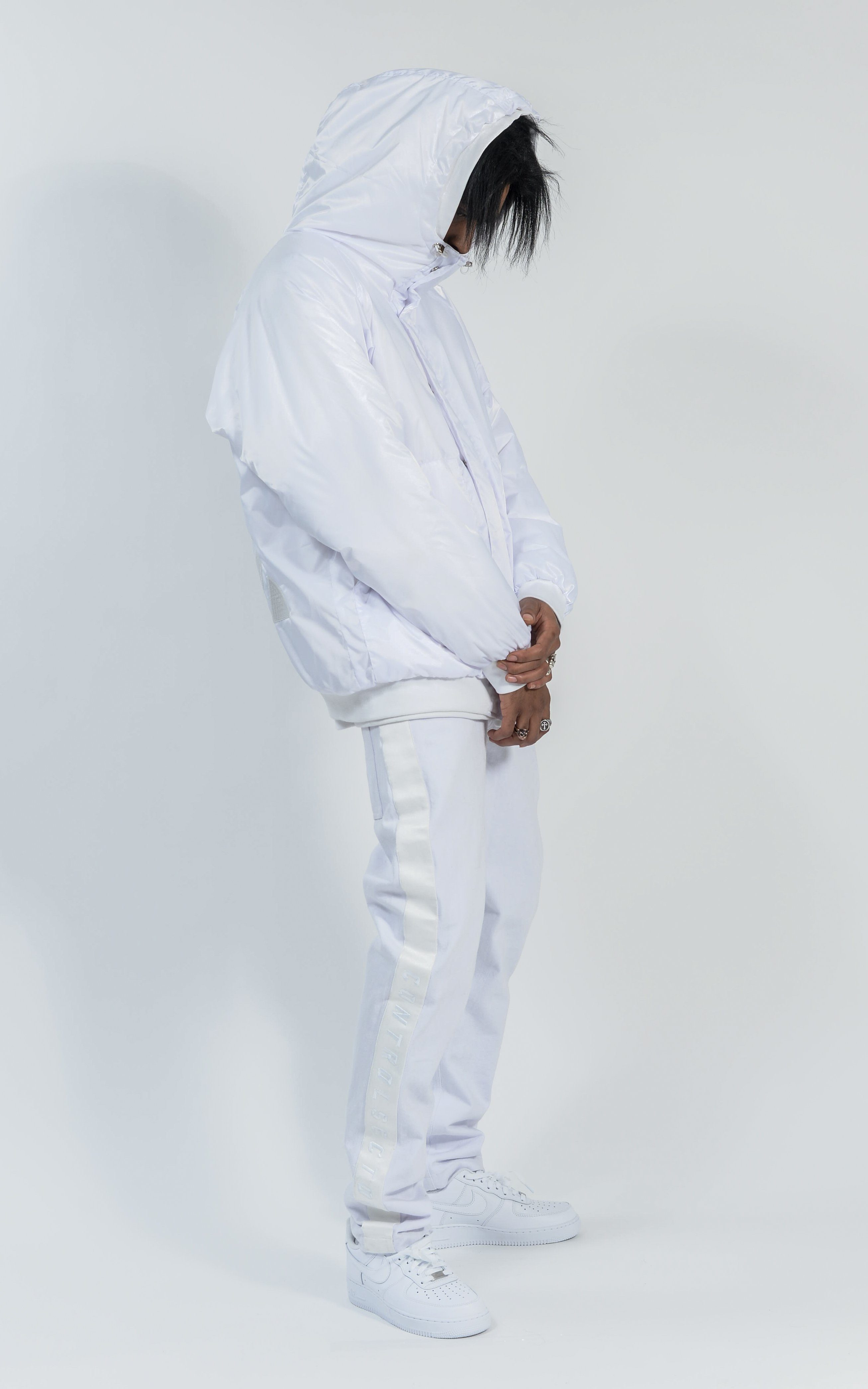 ACON1730-04 HOODED DOWN BOMBER - WHITE