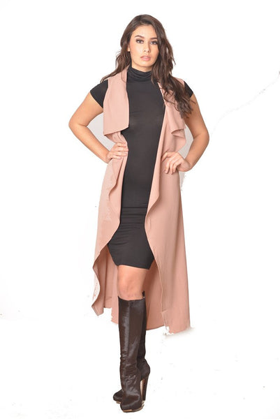 Tan Draped Trench Cardigan