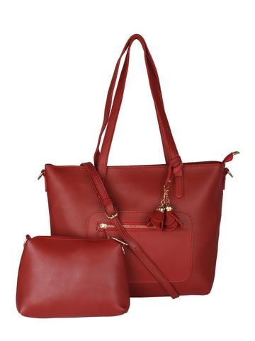 Structured Tote with Flower Charm-Red