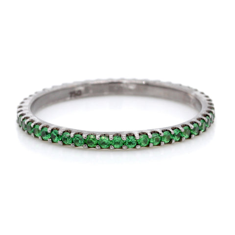 18K White Gold Tsavorite and Black Rhodium Eternity Band