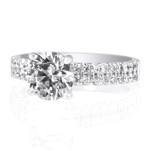 18K White Gold Double Row French-Set Engagement Ring