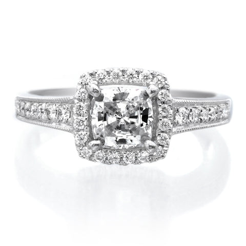 Platinum French-Set Halo Diamond Band Engagagement Ring