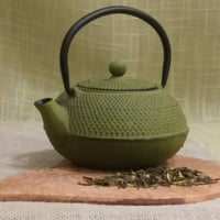 20 ounce Japanese cast iron teapot in hobnail pattern - Green