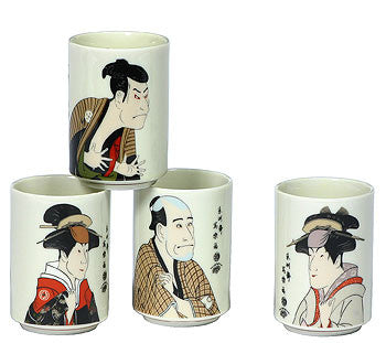 Japanese tea cups with Sharaku artwork.