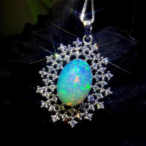 Huge 10x14mm opal sterling silver pendant and necklace