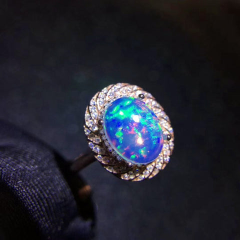 Fashion natural opal sterling silver adjustable ring - MOWTE