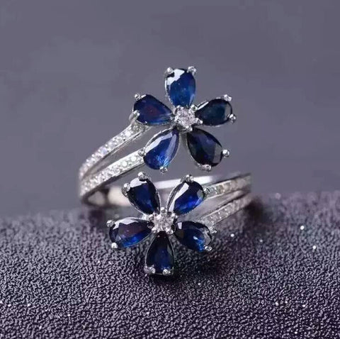 Classic genuine sapphire sterling silver flower free size ring - MOWTE