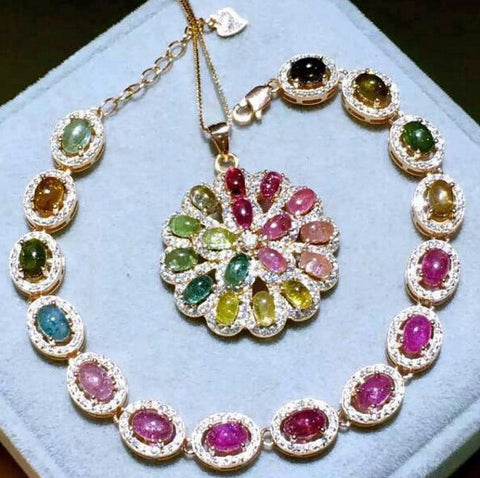 Colorful candy tourmaline silver jewelry sets - MOWTE