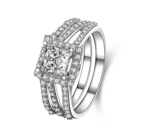 1CT princess cut 2 piece bands  diamond ring set - MOWTE