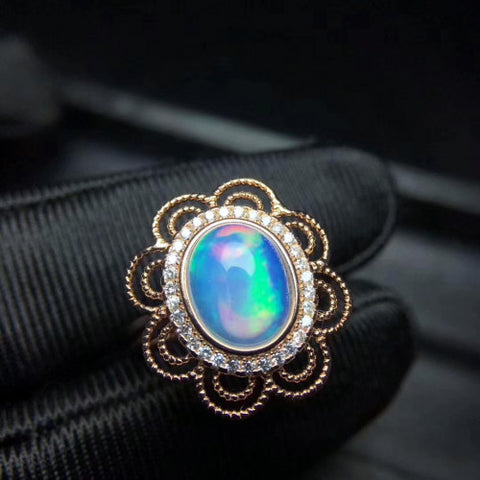 Vintage natural opal sterling silver adjustable ring