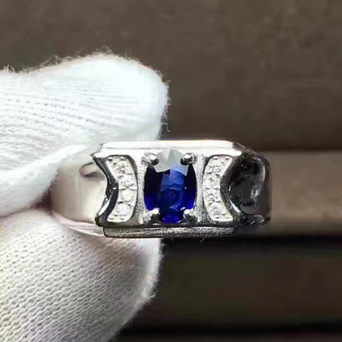 Couples Sri Lanka sapphire sterling silver free size ring - MOWTE