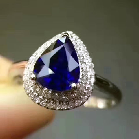 Genuine sapphire pear cut silver free size ring