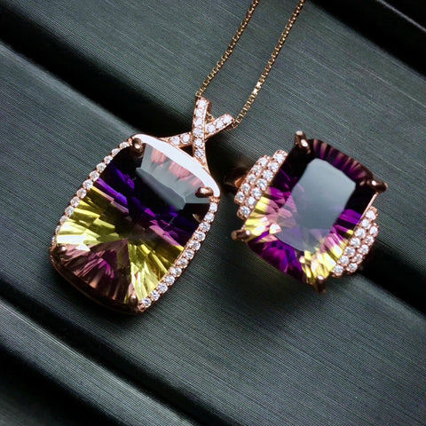 Natural ametrine silver jewelry set