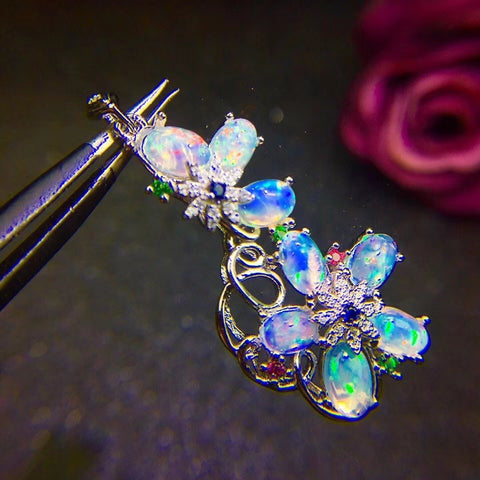 Genuine opal flower pendant and neckalce