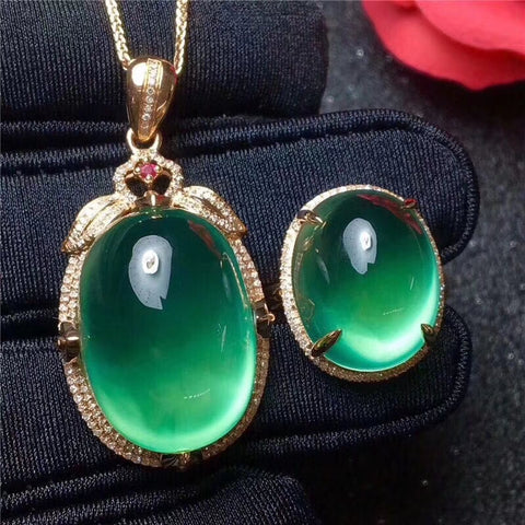Natural prehnite silver pendant and ring jewelry sets