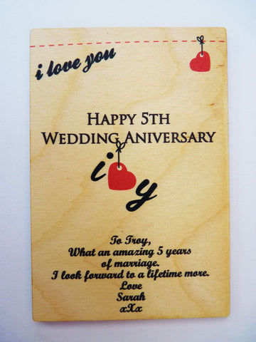 5th Wedding Anniversary Wooden Card