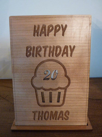Birthday Cupcake Wooden card