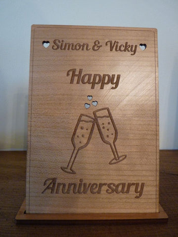 "Champagne Flutes ""Cheers"" Wooden card"