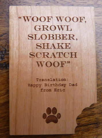 Personalised Wooden Card from Dog