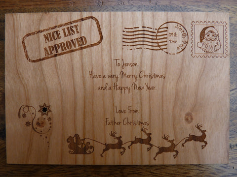 Personalised Wooden Christmas Postage Card