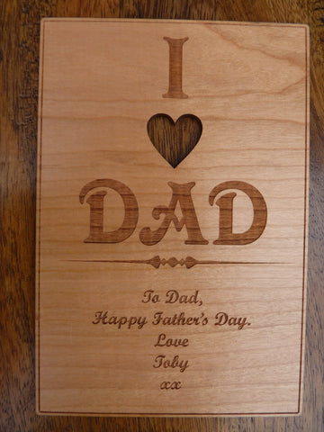 I Love Dad wooden card