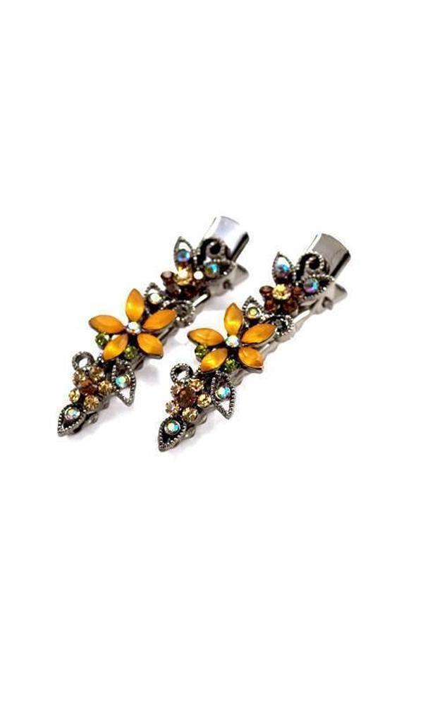 Soho Style Hair Clip Amber Frosted Flora Clips (Pair)
