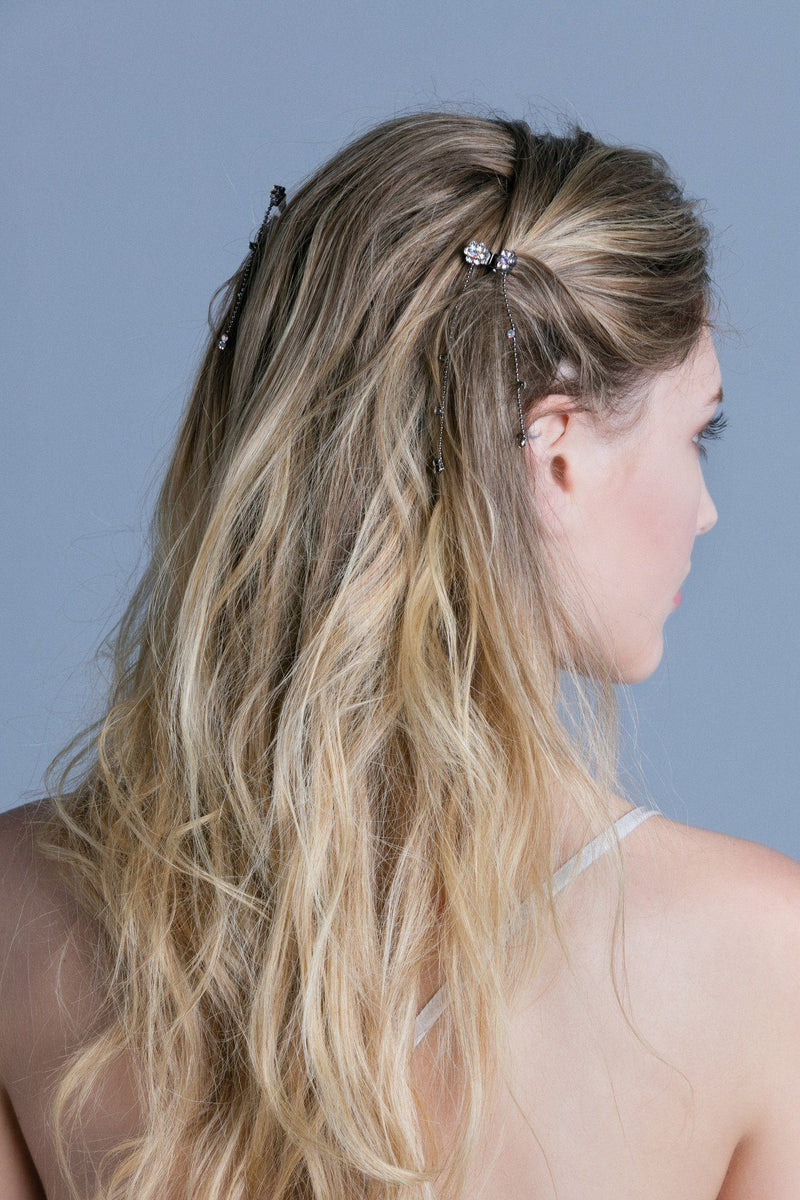 Soho Style Hair Jaws Mini Flower Hair Jaw with Dangles (Pair)