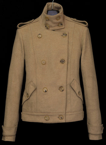 2003 Camel Wool Double-Breasted Military Jacket