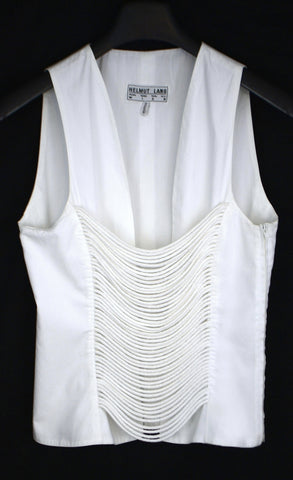 1992 Tailored Sleeveless Top with Open Laced Front