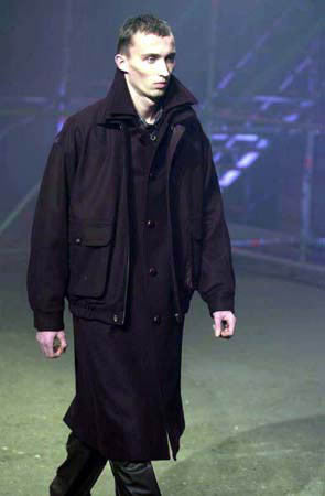 2001 Felted Wool High Neck Blouson with Oversized Sleeves