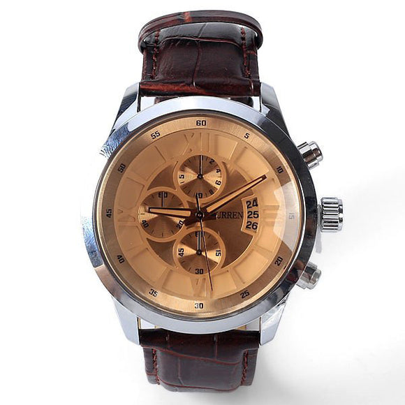 Curren Men's High Fashion Chronograph with Leather Band (Amber 4cm Dial) - CUR113