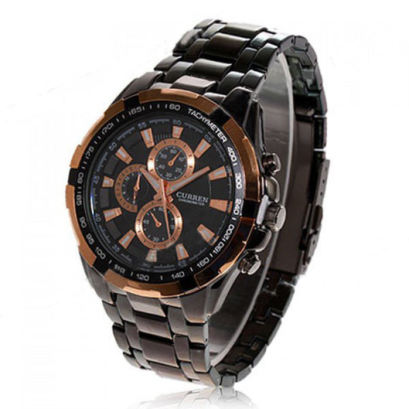 Curren Men's Black Stainless Steel Chronograph with Copper Accents (Black 5cm Dial) - CUR106