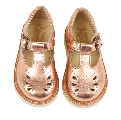 Young Soles Rosie T-Bar Shoes / Rose Gold