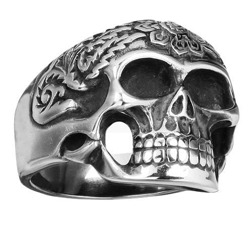 Stainless Steel Skull Ring With Detailed Floral Design (168)