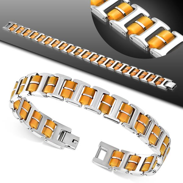 2-Tone Link Fold Over H Clasp Closure Bracelet